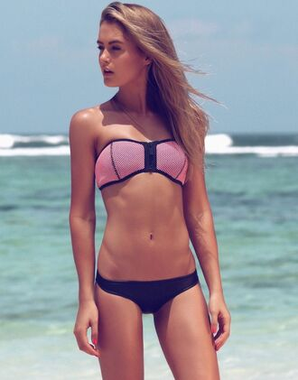swimwear triangl neoprene bikini pink swimwear black swimwear black bottom pink top