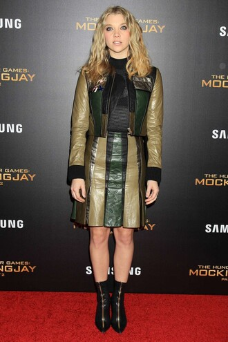 skirt jacket two-piece natalie dormer the hunger games boots fall outfits leather jacket leather