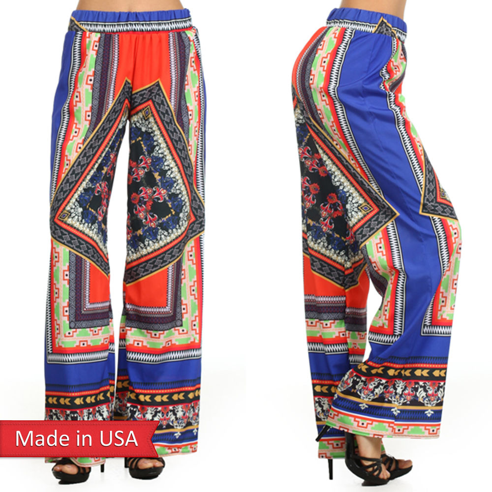 Women multi color quilt print wide legged high waist palazzo pants usa size s