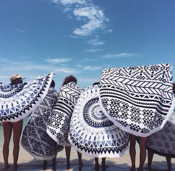 swimwear blanket towel lifestyle black and white hipster summer holidays tapestry