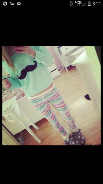 leggings mustache tribal pattern boots slippers school fall winter outfits winter sweater