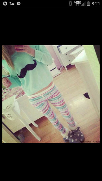 leggings mustache boots tribal pattern slippers back to school fall outfits winter outfits winter sweater