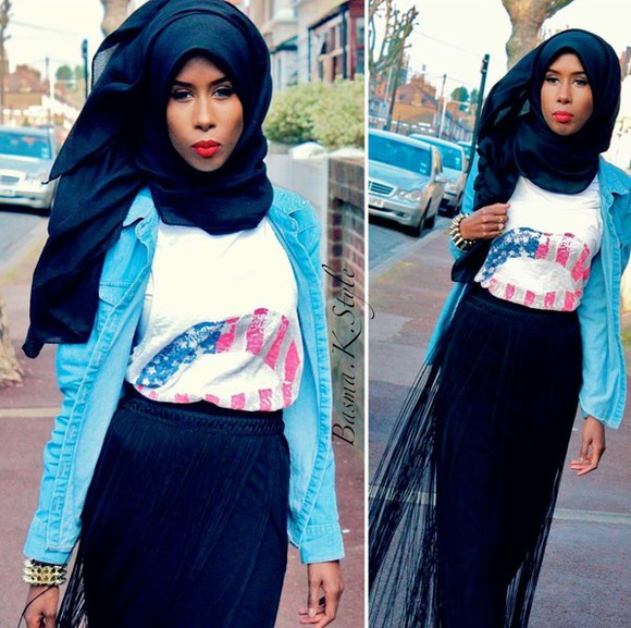 skirt blouse t-shirt hijab muslim fashion squad fashionista
