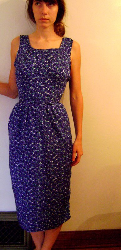 Indigo floral reconstructed vintage dress open back by temerson1