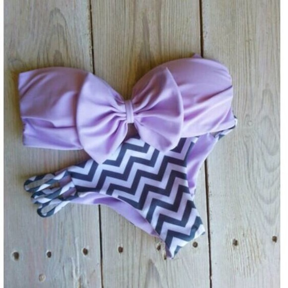 purple swimwear bikini swimwear purple lavender chevron bow bandeau cheeky bikini summer outfits beach bows purple bikini pink strapless bikini bows cute strips
