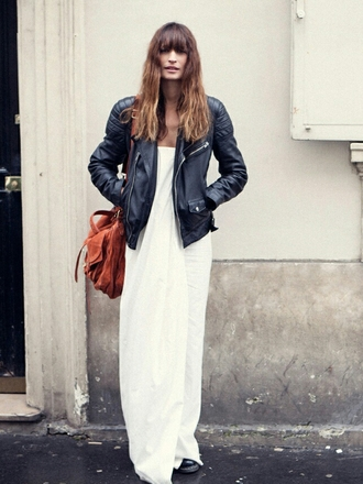 dress caroline de maigret model fashionista summer dress maxi dress white dress jacket leather jacket black jacket bag brown bag suede bag streetstyle