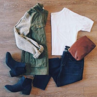 jacket army green jacket white crop tops blue jeans black booties