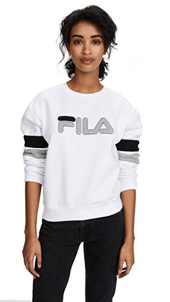 fila sweatshirt white black grey sweater