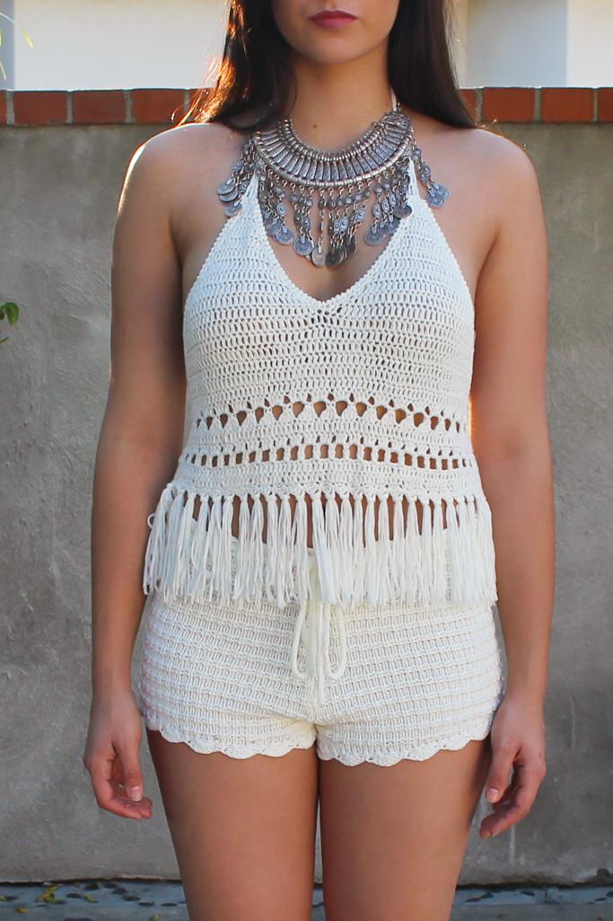 Coachella festival crochet fringe top – luv mint
