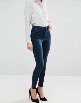 ASOS 'SCULPT ME' High Rise Premium Jeans in Dark Stone Wash Blue at asos.com