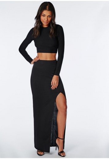 Missguided - Front Split Maxi Skirt Black