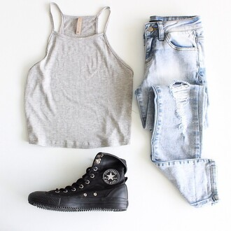 tank top nyct clothing cami camisole converse ootd outfit summer ootd ootd top destroyed skinny jeans crop tops grey top grey tank top