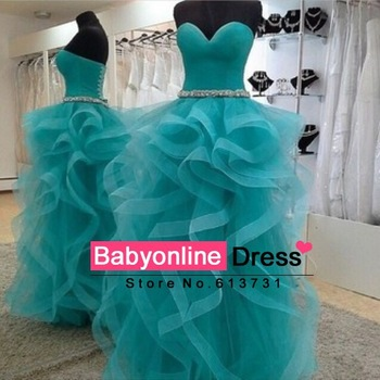 Aliexpress.com : buy real sample elegant evening dress 2014 crystal belt ruffles tulle turquoise ball gown prom dresses to party abendkleider long from reliable dresses cut suppliers on suzhou babyonline dress store