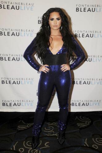 jumpsuit pants blue demi lovato plunge v neck sequins electric blue