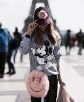 top,sweatshirt,grey sweater,disney sweater,disney,mickey mouse,bag,pink bag,round bag,furry bag,chain bag,pants,black pants,black leather pants,leather pants,vinyl,black vinyl pants,cap,fur,tumblr