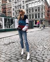 top,white boots,fanny pack,belt bag,bag,sweatshirt,multicolor,blue jeans,denim,jeans,boots,sunglasses,cat eye
