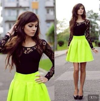 blouse top lace top long sleeves neon skirt neon mini skirt mini skirt circle skirt flowy skirt