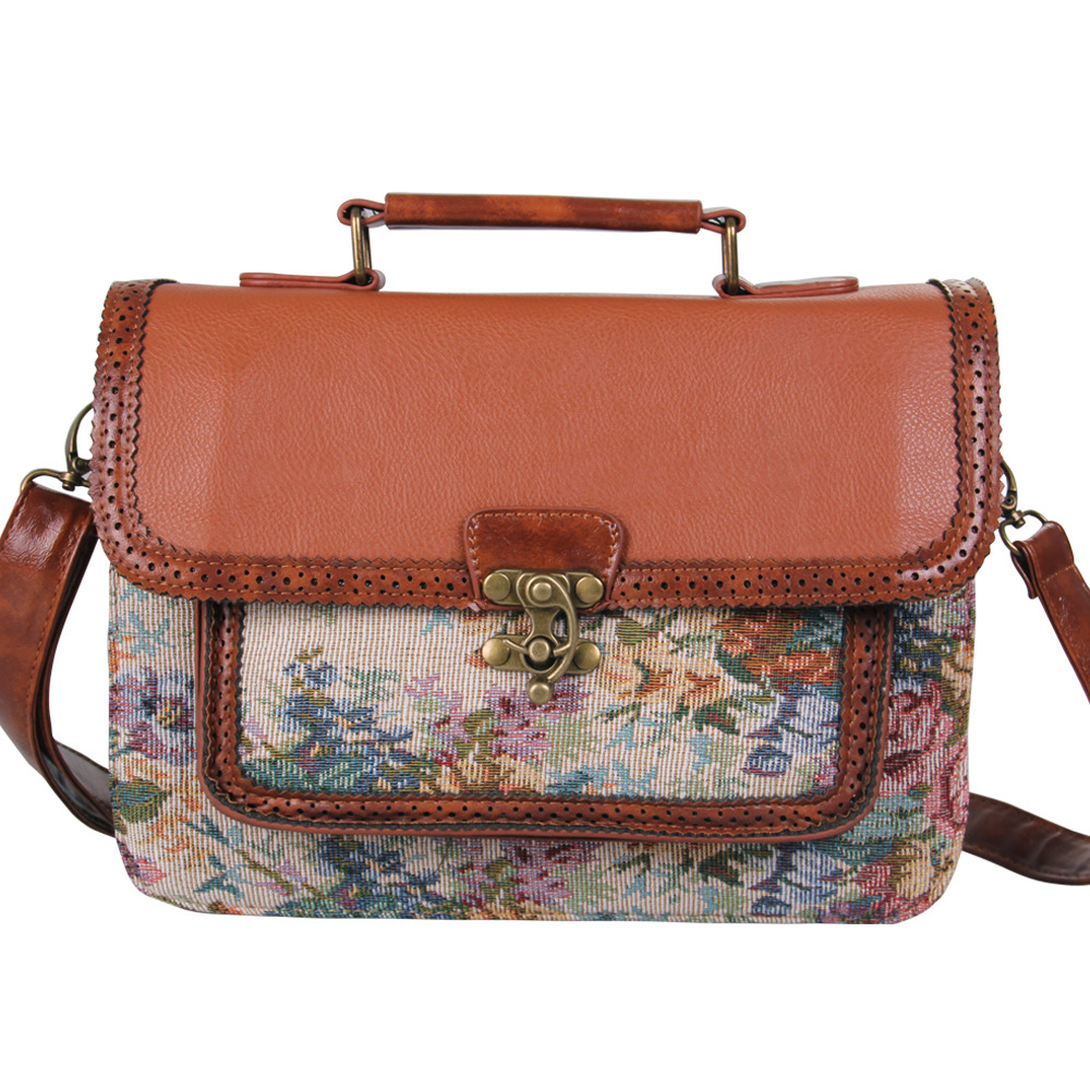 mart Floral Embroider Leather Satchel Vintage Style Messenger ...
