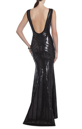 Agne Open-Back Geo-Sequined Maxi Dress | BCBG