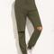 Army green tie cut out knee long pants -shein(sheinside)