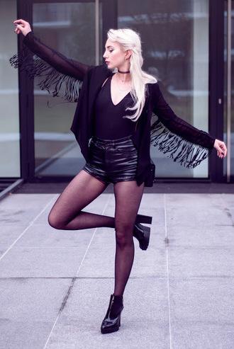 blogger leather shorts black bodysuit fringes mini shorts