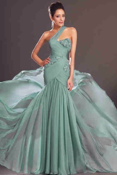 dress prom dress one shoulder mint green dress green dress one shoulder dresses long prom dress floral flowers wrap dress long dress cute dress sweetheart dresses