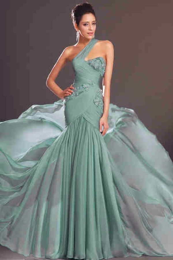 dress mint dress green dress one shoulder one shoulder dresses prom dress long prom dress floral flowers wrap dress long dress cute dress sweetheart dress