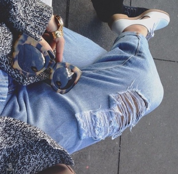 jeans distressed jeans boyfriend jeans shoes ripped jeans shorts sunglasses