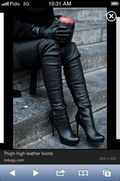 shoes,thigh high boots,boots,black leather boots,black boots