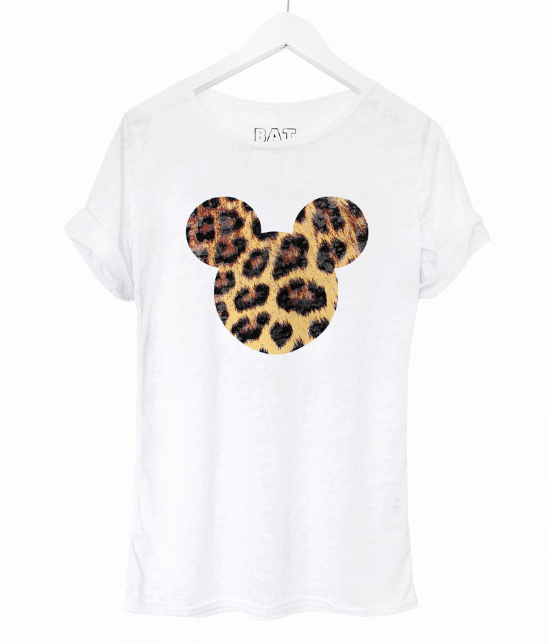 Ladies Mouse White Top Disney Mickey Leopard Print T-Shirt Girls UK 8 10 12 NEW | eBay