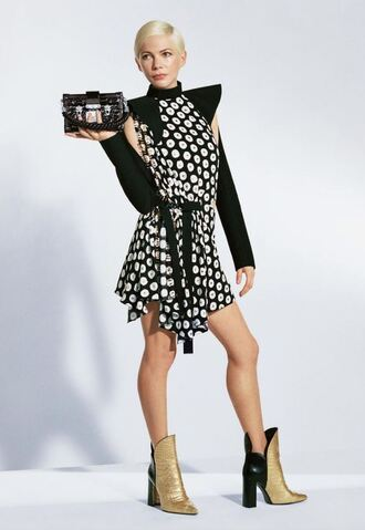 dress michelle williams boots purse asymmetrical dress louis vuitton