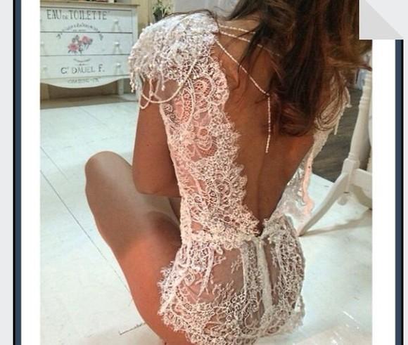 lace dress jumpsuit white