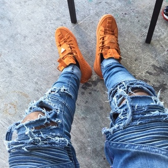 shoes ripped jeans style