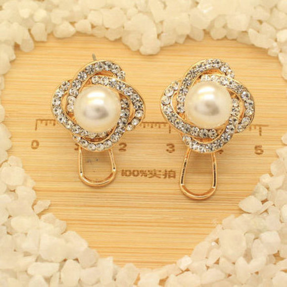 rhinestone jewels earrings fashion pearl