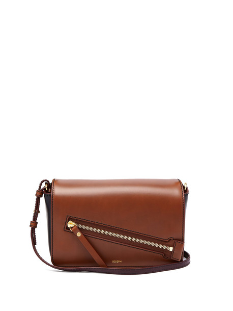 bag shoulder bag leather black tan