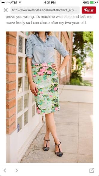 skirt floral mint mint floral floral skirt knee length skirt floral midi skirt