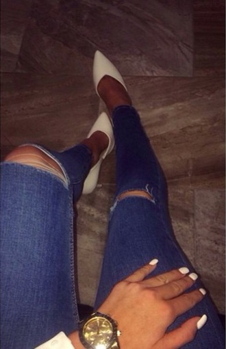 shoes high heels pointy toes white high heels jeans