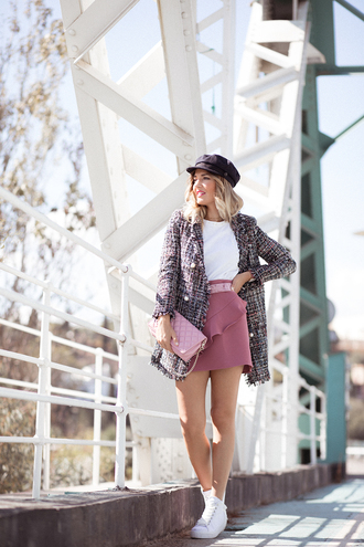 mi aventura con la moda blogger jacket skirt hat shoes bag pink skirt pink bag fall outfits