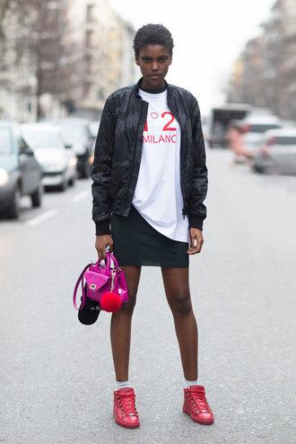 top bomber jacket jacket sneakers fashion week 2016 milan fashion week 2016 purse skirt mini skirt