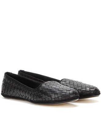 slippers leather black shoes