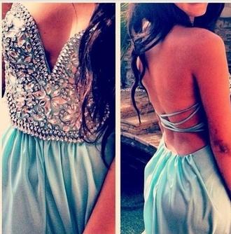 dress prom dress blue dress studded dress bustier dress backless dress