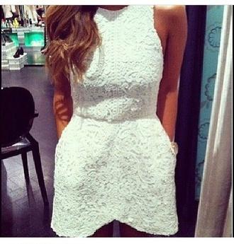 romantic fashion white lace celebrity style clothes dress glam lace dress