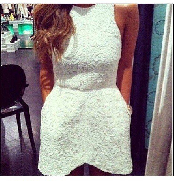 dress lace lace dress clothes white fashion romantic celebrity glam