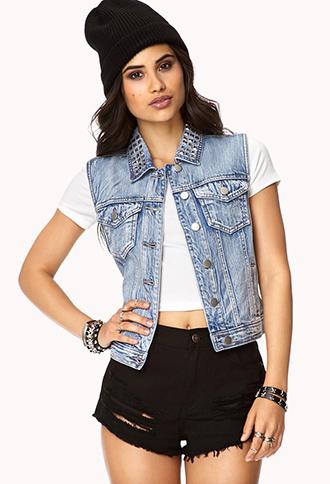 Cool girl studded denim vest