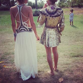 dress white long dress skirt hippie coachella festival lace sequins gold silver gold sequins silver sequins maxi dress