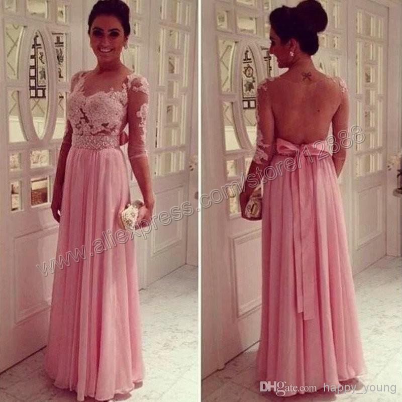 Cheap Prom Dresses 2015 - Discount Sheer Long Sleeves Beaded Lace Appliques Backless a Online with $128.64/Piece | DHgate