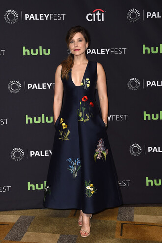 dress midi dress plunge dress sandals sophia bush floral gown