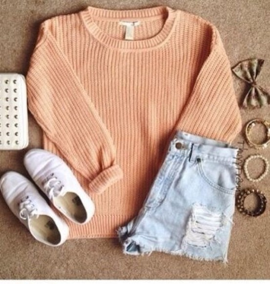 sweater spring fashion orange corail pink jumpers jumper fisherman jumper trend fashion vibe
