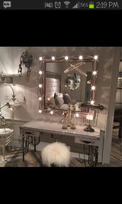 home accessory,white,home decor,mirror,stool,dressor,fur,lights,mirror with lights,fur chair,silve mirror frame,makeup mirror,vanity mirror,bedroom,makeup table,home furniture,mirrior