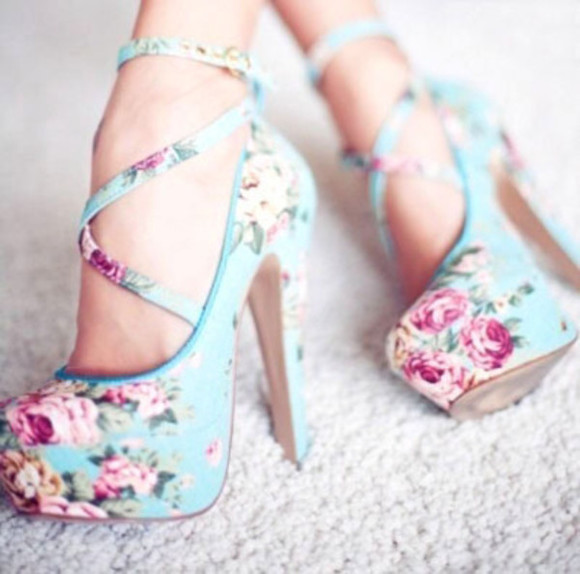 shoes blue pink high heels flower